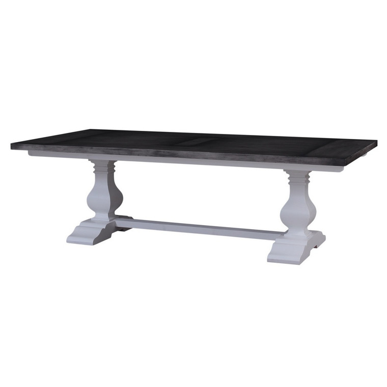Provincial Trestle Dining Table 3m - Architectural White base & Dior Grey top