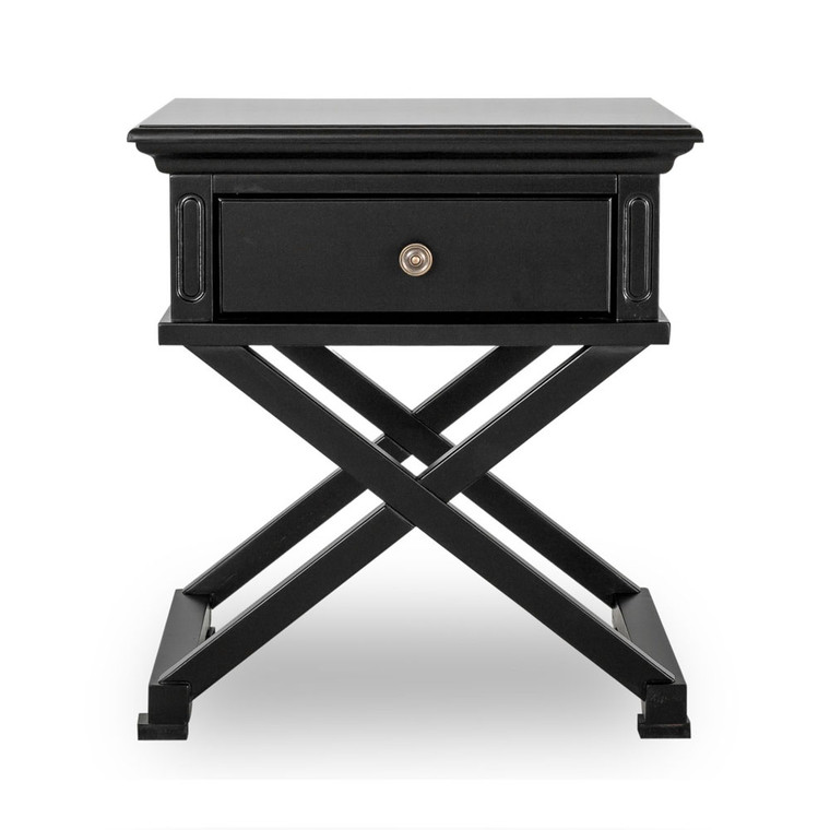 Hamptons Cross Sorrento Side Table - Black  - 65H x 60W x 50D (cm)