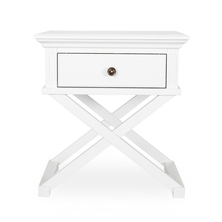 Hamptons Cross Sorrento Side Table - White  - 65H x 60W x 50D (cm)