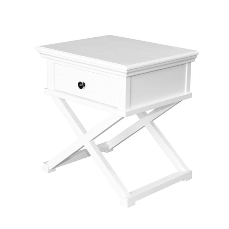 Hamptons Cross Sorrento Side Table - White  - 65H x 60W x 50D (cm)