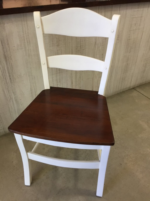 Peg & Dowel Low Ladder Back with Wooden Seat - Pearl White Light Distressed with Teak Brown Seat