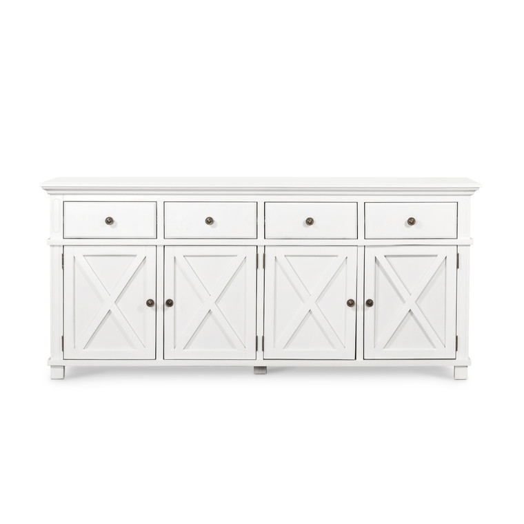 Hamptons Cross 4 Door Buffet Sorrento Sideboard - White - Size: 188(W) x 50(D) x 85(H)cm