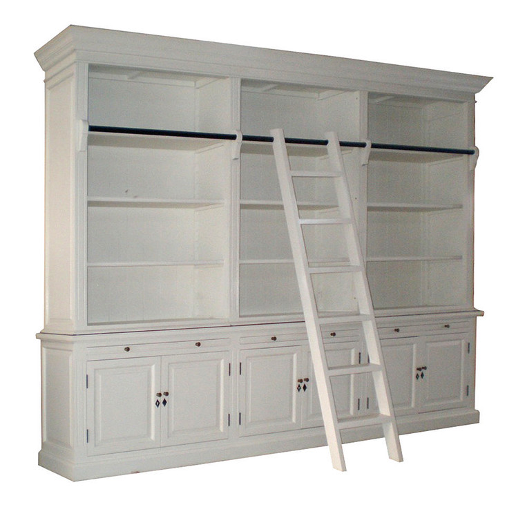 Harrington 3 Bay Library Bookcase NO LADDER - White (NOTE: image for demonstration purposes only - bookcase ordered will look the same overall but WILL NOT INCLUDE the ladder and the black rail as pictured)