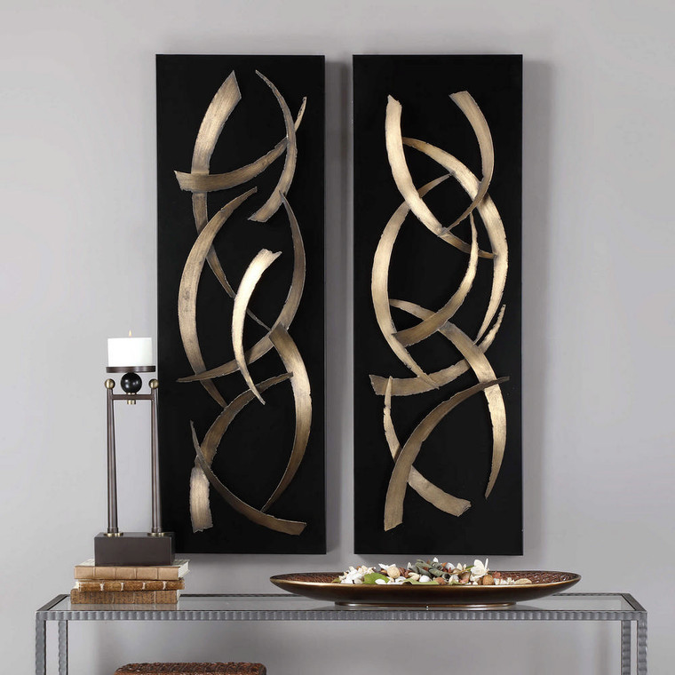 Brushstrokes Metal Wall Panels S/2 by Uttermost