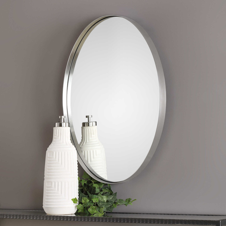 Pursley Brushed Nickel Oval Mirror by Uttermost
