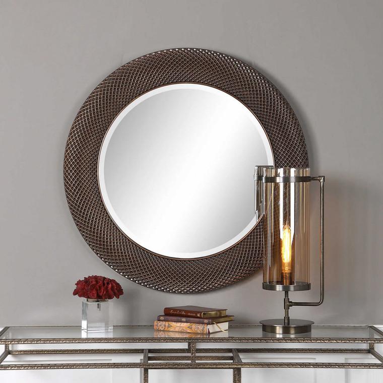 Aziza Bronze Round Mirror by Uttermost