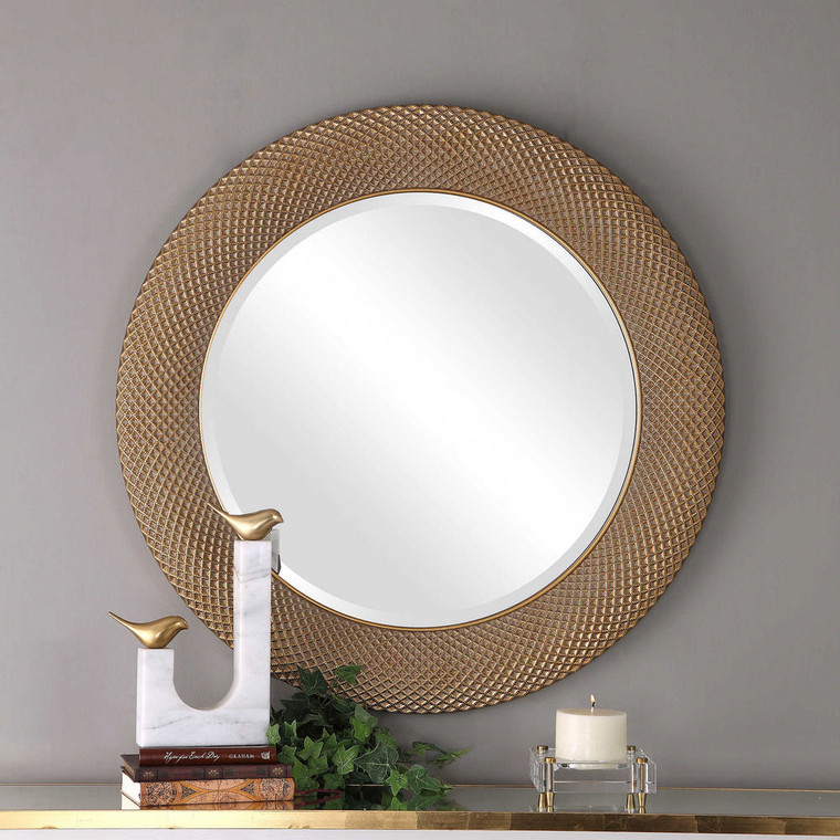 Aziza Gold Round Mirror by Uttermost