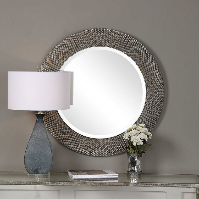 Aziza Silver Round Mirror by Uttermost