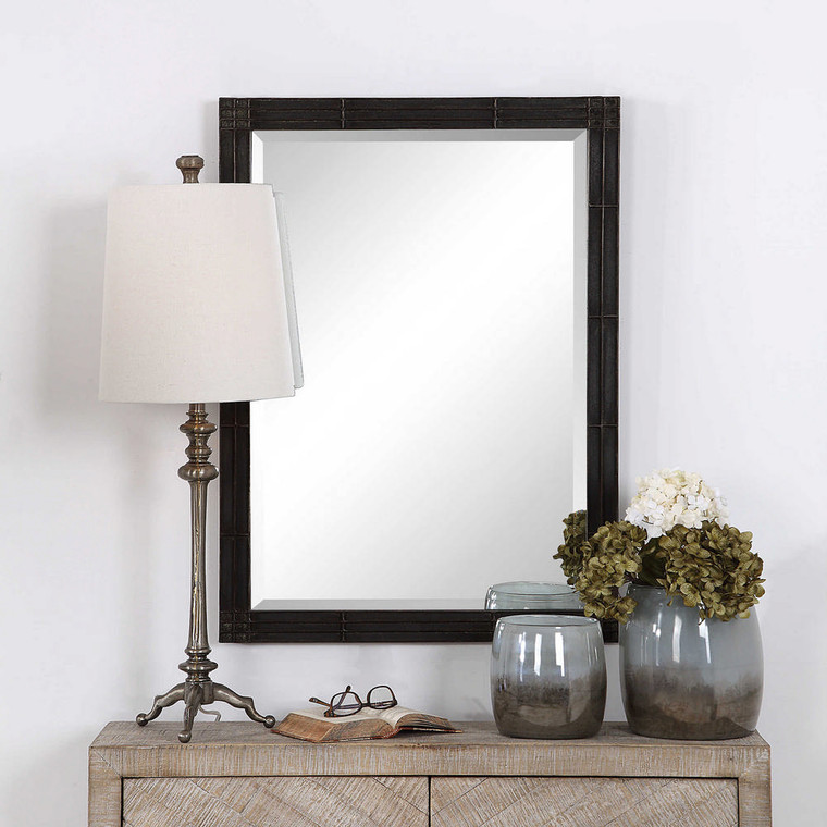 Gower Aged Black Vanity Mirror by Uttermost