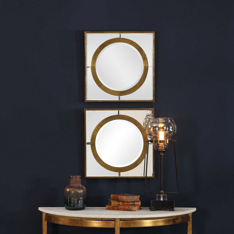 Gaza Square Mirrors S/2 by Uttermost