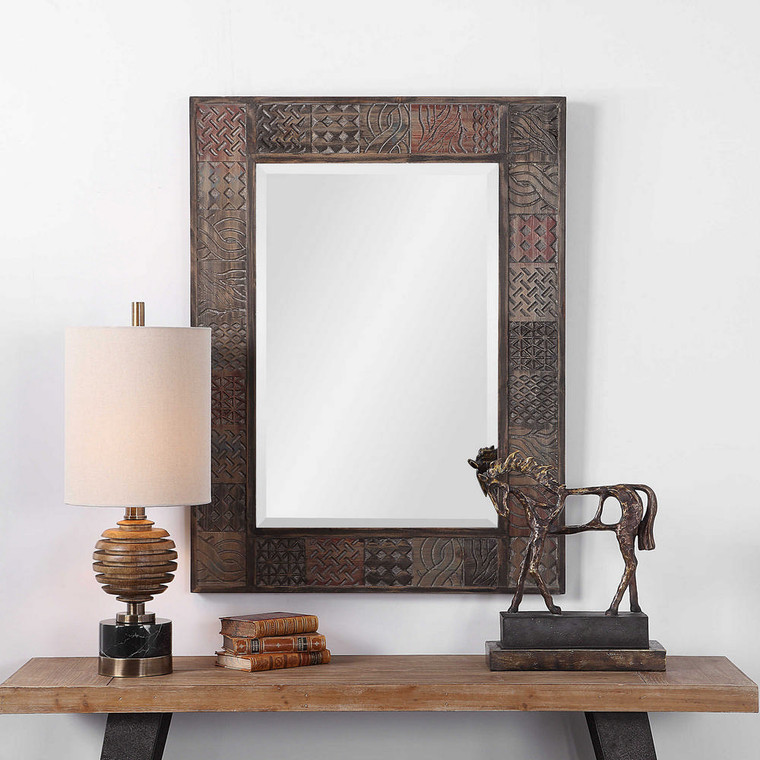 Kele Carved Wood Mirror by Uttermost