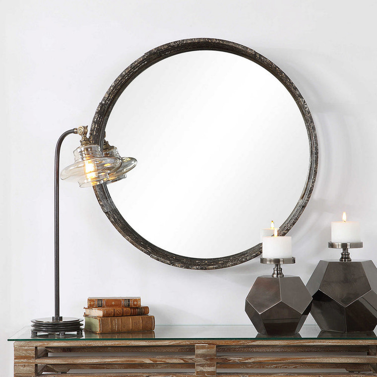 Genovia Industrial Round Mirror by Uttermost