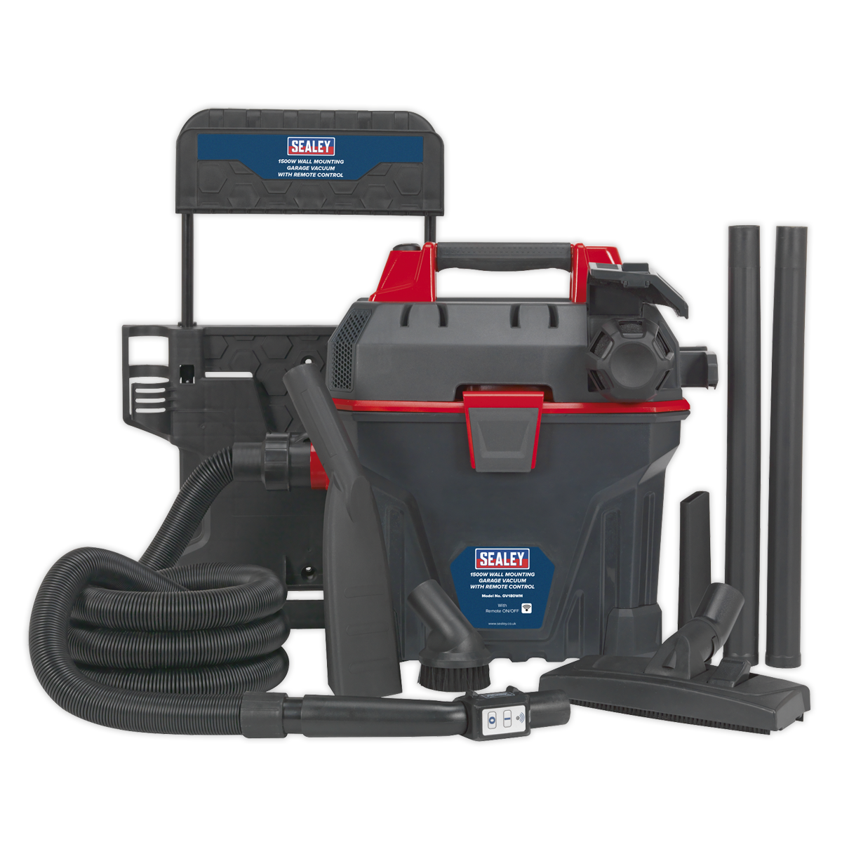 Garage Vacuum 1500W with Remote Control - Wall Mounting | Robust, wall mounting, remote control, wet and dry vacuum cleaner. | toolforce.ie