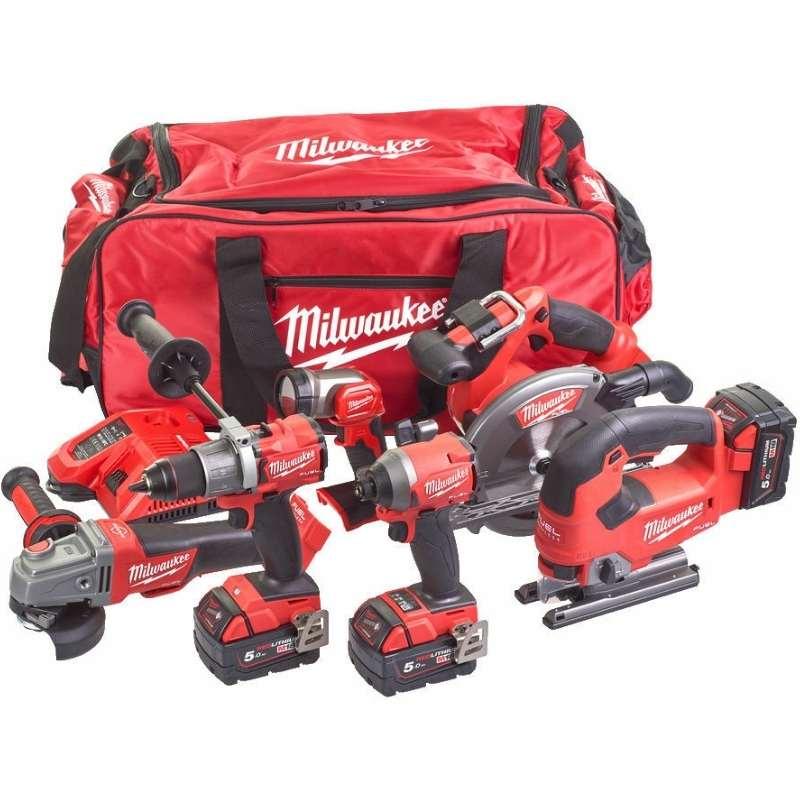 Milwaukee M18 Fuel 6 Piece Power Tool Kit M18FPP6D2-503B