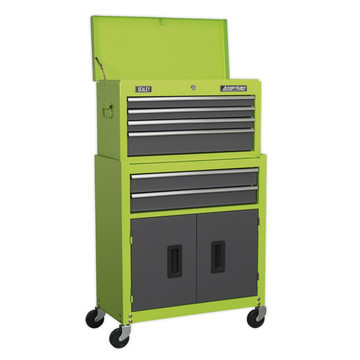 Sealey Topchest & Rollcab Combination 6 Drawer with Ball-Bearing Slides - Hi-Vis Green/Grey AP2200BBHV The economical way to buy American PRO® Ball-Bearing quality tool chests. Supplied packed one inside the other.
