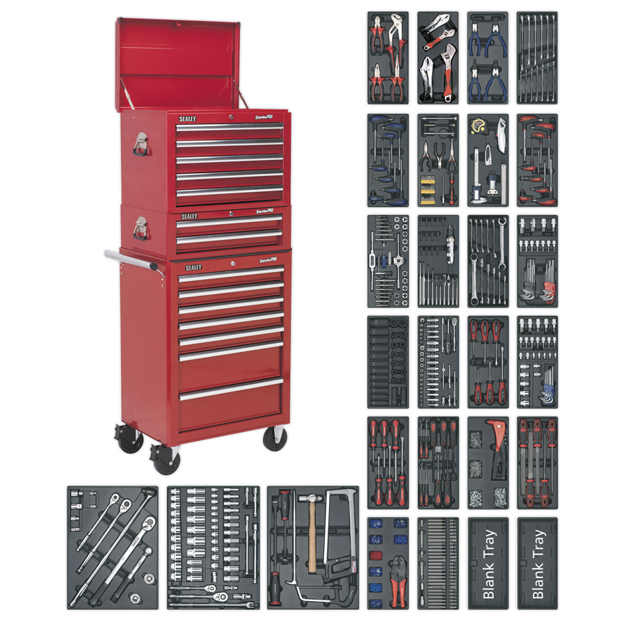 Sealey Tool Chest Combination 14 Drawer SPTCOMBO1 | 3 tier tool chest | Includes 27 Tool Trays. | 14 roller bearing drawers | toolforce.ie