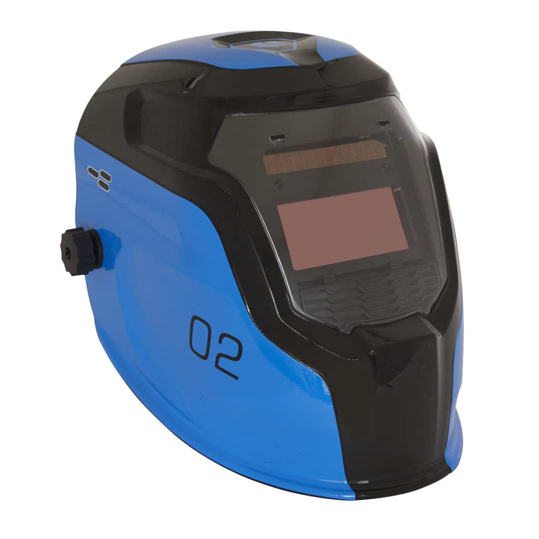 Sealey Welding Helmet Auto Darkening Shade 9-13 Blue PWH2   Features sensitivity and delay controls for switching light to dark.   toolforce.ie
