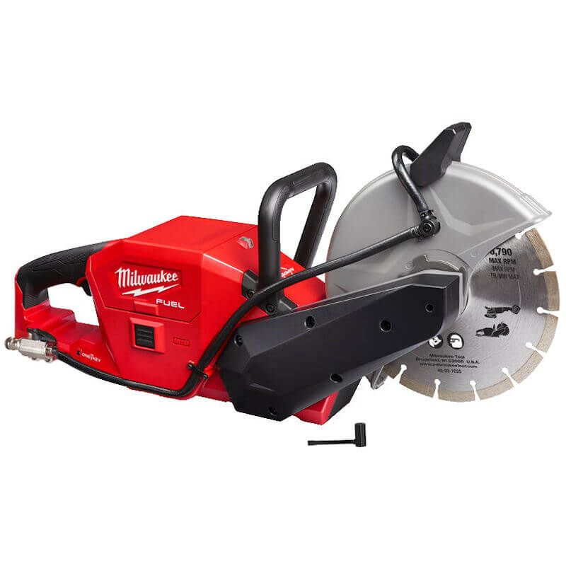 """MILWAUKEE FUEL ONE KEY M18 9"""" CUT-OFF SAW   The world's first 18V 230 mm battery powered cut off saw, delivers the power to cut reinforced concrete, whilst being 50% lighter than other petrol comparisons.   toolforce.ie"""