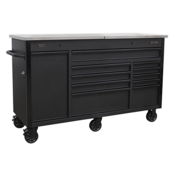 Sealey Mobile Tool Storage and Workbench with Charging Point AP6310BE | Each drawer features stylish black anodized heavy-duty drawer pulls and non-slip liners. | toolforce.ie