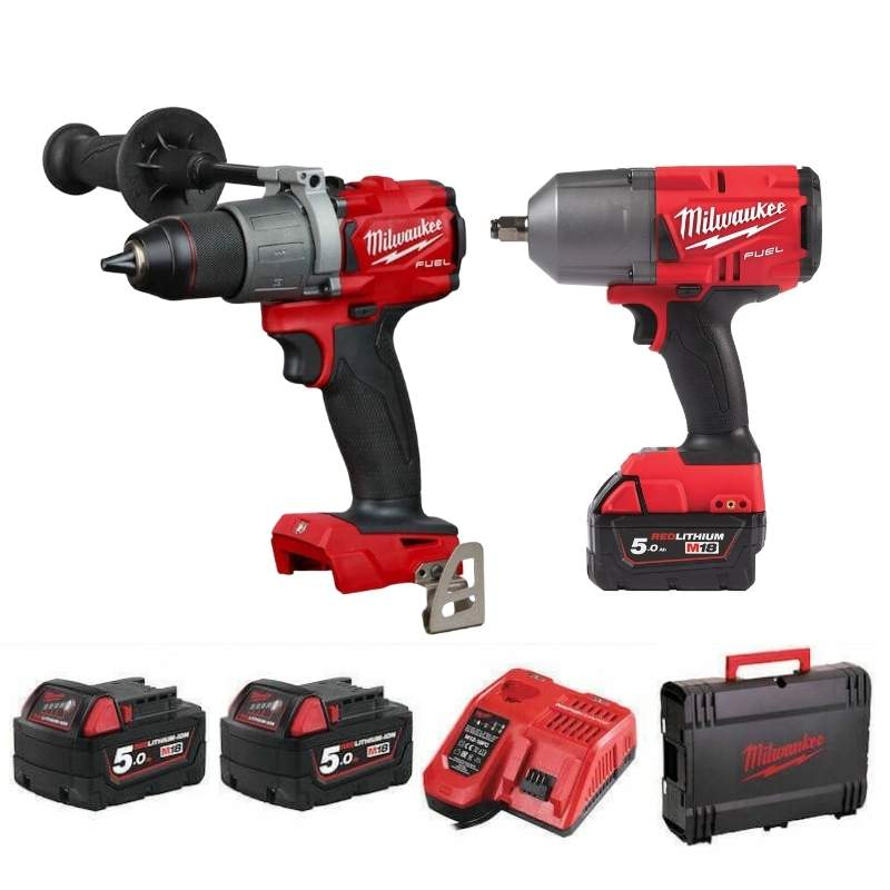 Milwaukee M18 Fuel Impact Wrench & Drill Twin Pack M18FPP2I2-502X