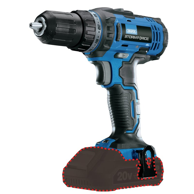 draper cordless drill body only