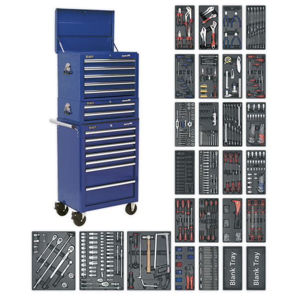 Tool Chest Combination 14 Drawer with Ball Bearing Slides - Blue & 1179pc Tool Kit | Tool Chest specification as per page XXX. | toolforce.ie