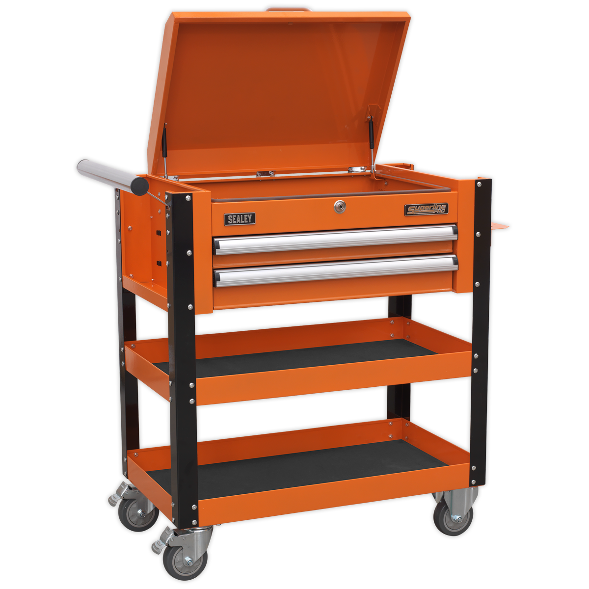 SEALEY Mobile Tool & Parts Trolley with Lockable Top AP760MO | 40 kg capacity drawers contain ball