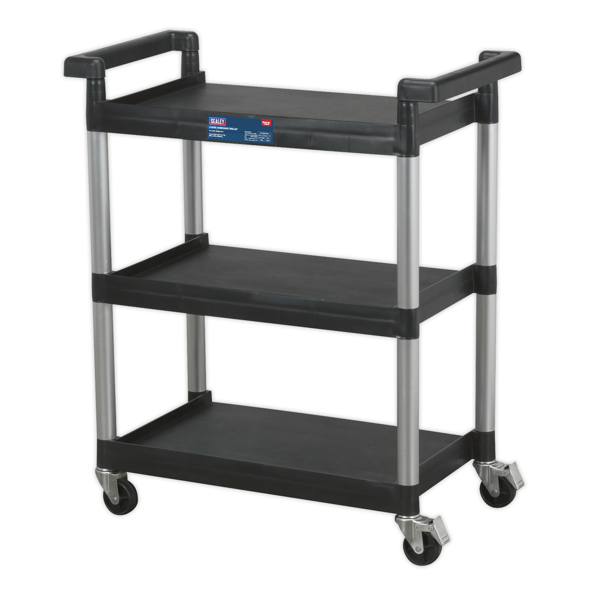 Sealey Workshop Trolley 3-Level CX308 | Composite garage workshop trolley with a 30kg capacity per shelf. | Four large castors, two locking. | toolforce.ie