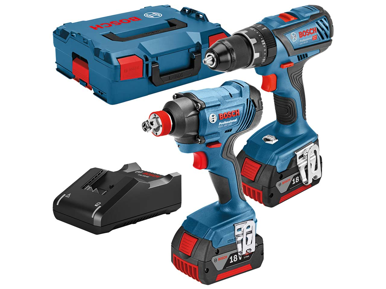 Bosch Professional Combi Drill & Impact Driver Twin Pack GDX18V-180+GSB18V-28   13-mm full-metal chuck makes it highly durable, ensuring less wear and longer use.   toolforce.ie