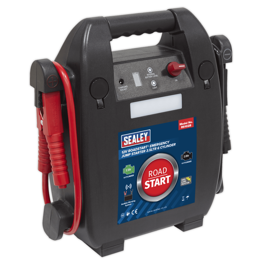 RoadStart® Emergency Jump Starter 12V 3.5L 6-Cylinder | Composite case with integral battery clamp storage and carry handle. | toolforce.ie