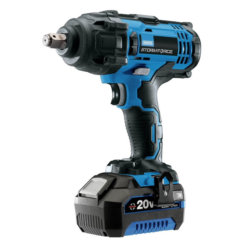 """The Draper Storm Force 20V 1/2"""" Mid-Torque Impact Wrench (400Nm) 43785 comes with 1 x 4Ah Battery and Charger, Part of the Draper Storm Force 20V Power Interchange series, Supplied in a plastic storage case."""
