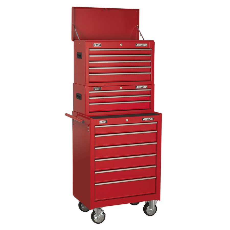Sealey American Pro 14 Drawer Tool Chest AP22STACK | 5 drawer top chest with top compartment | toolforce.ie 3 drawer middle box