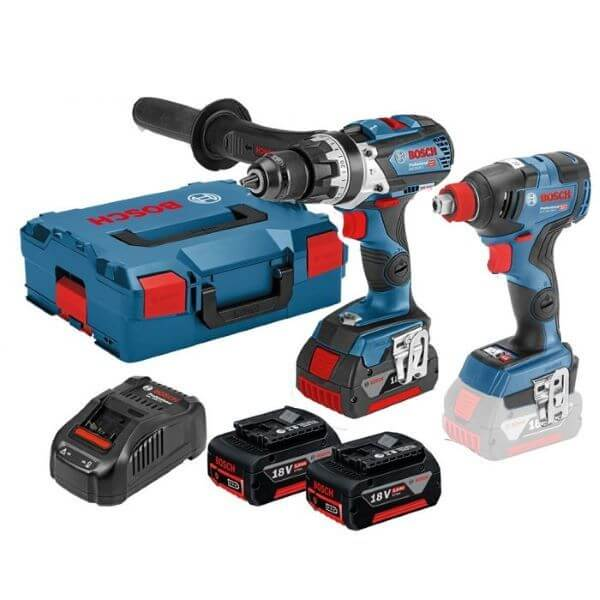 """Bosch (GSB18V-60C) Combi Drill & Impact Driver Twin Kit (GDX18V-200C) 2 x 5.0AH Batteries 06019G4272   Special bit holder combines 1/2"""" square and 1/4"""" hexagon – for even more applications    toolforce.ie"""