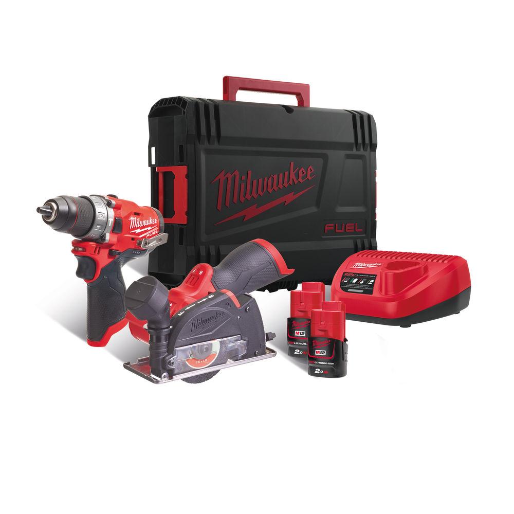 Milwaukee M12 Fuel Drill & Cut Off Tool Twin Pack M12FPP2F-202X