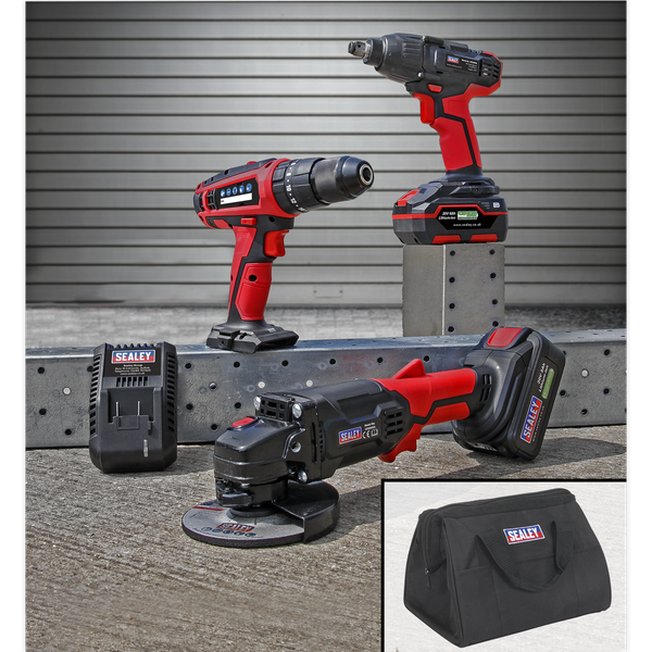 SEALEY 20V Drill Grinder and Impact Wrench Combo CP20VCOMBO01   Hammer Drill/Driver, Impact Wrench, Cordless Angle Grinder, Power Tool Battery and Canvas Bag   toolforce.ie