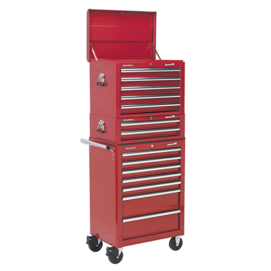 Sealey Topchest, Mid-Box & Rollcab Combination 14 Drawer Red APSTACKTR |  Manufactured with steel inner walls for extra strength and durability. | toolforce.ie