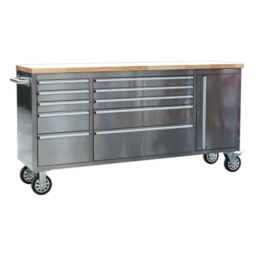 Sealey Mobile Stainless Steel Tool Cabinet 10 Drawer with Side Tool Compartment AP7210SS | Anti-fingerprint stainless steel construction. | toolforce.ie