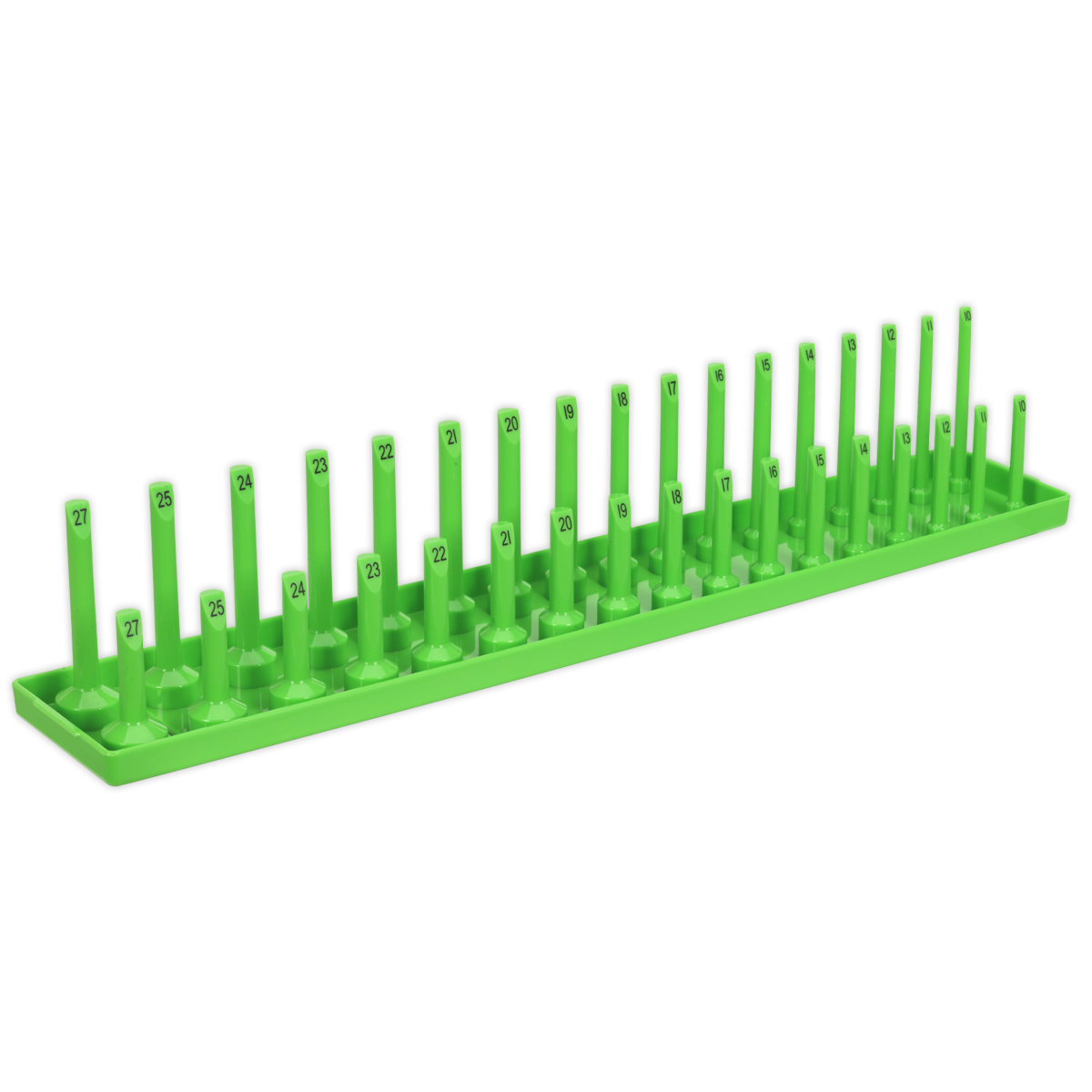 """Socket Holder 1/2""""Sq Drive 10-27mm Hi-Vis Green   Allows you to maintain a tidy workstation with sockets always to hand.   toolforce.ie"""