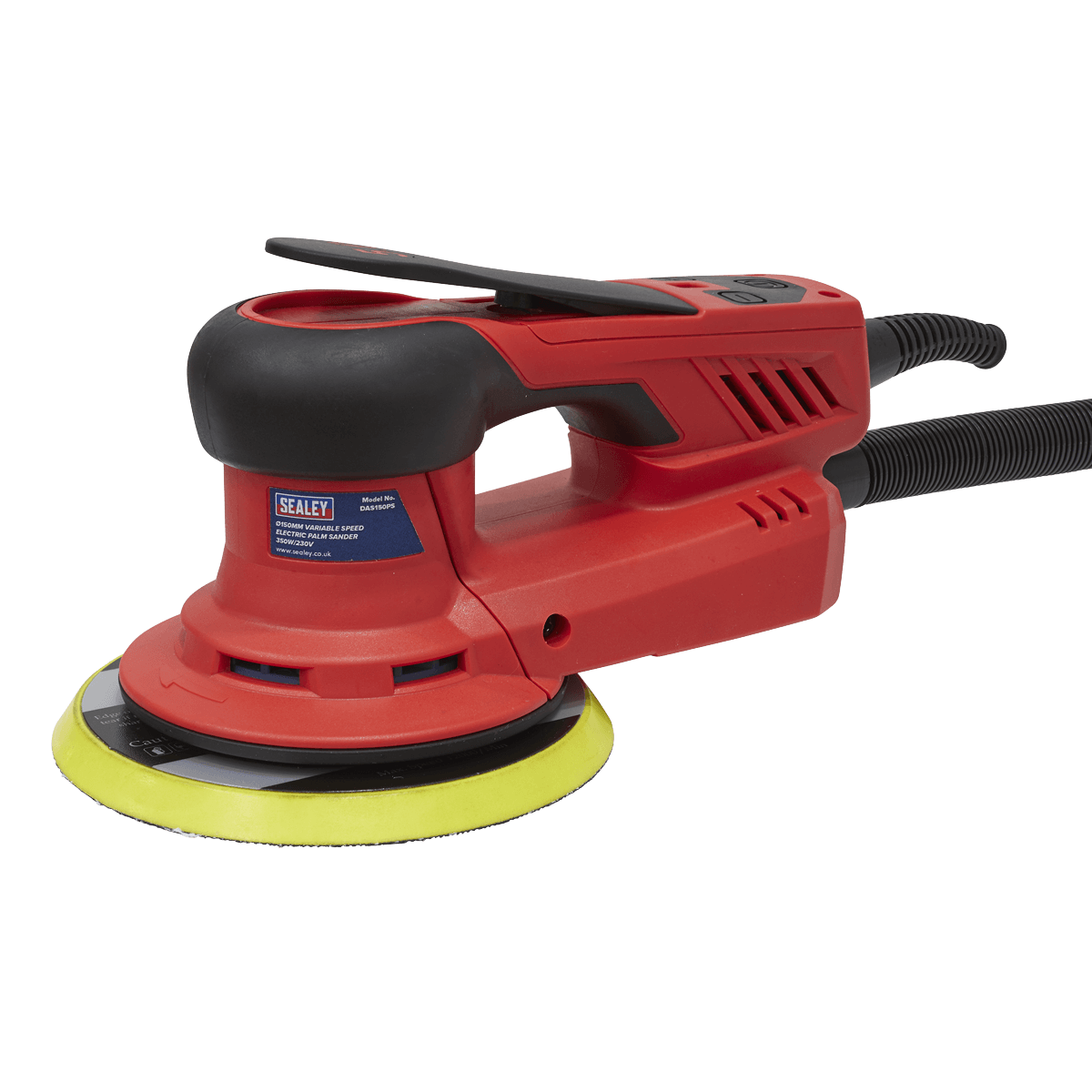 Sealey Variable Speed Electric Palm Sander 350W DAS150PS | Supplied with dust-free Ø150mm backing pad, four sanding discs and dust extraction hose. | toolforce.ie