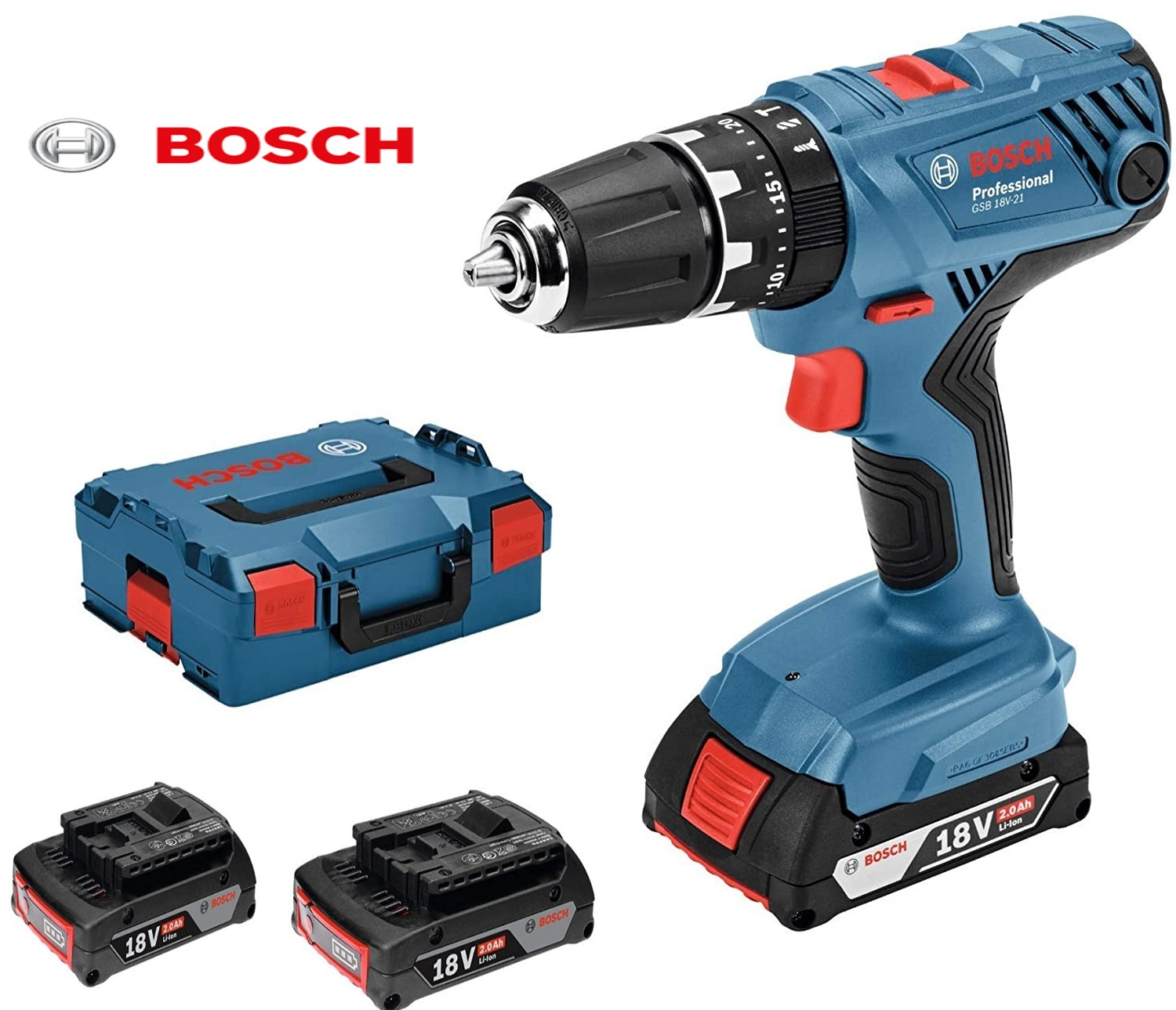 BOSCH Professional  DRILL 18V  COMBI DRILL KIT  GSB18V-21 | This tool is intended for drilling in wood with a maximum diameter of 35 mm, in steel up to 13 mm, and for screw diameters of up to 10 mm. | toolforce.ie