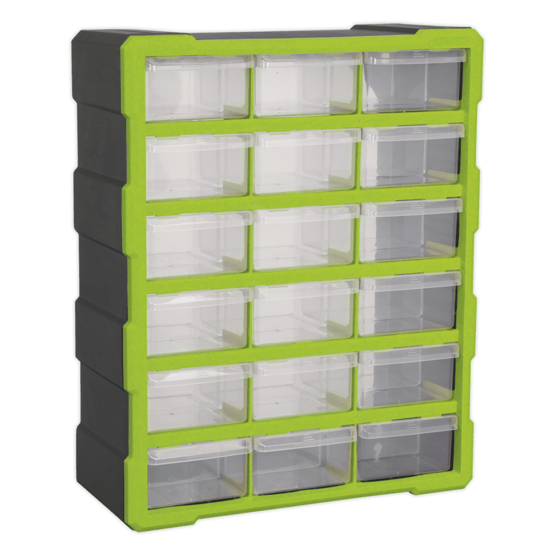SEALEY 18 DRAWER CABINET BOX APDC18HV   Fitted with four fixing points for wall mounting or can be bench mounted   toolforce.ie
