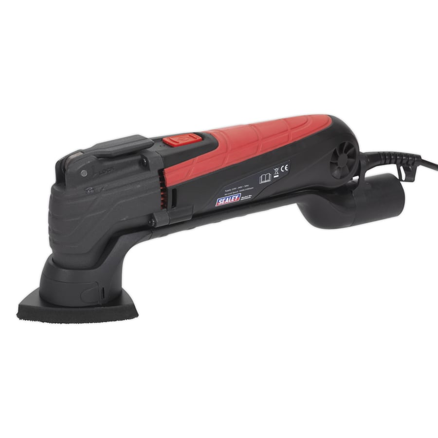 Sealey Oscillating Corner Sander Multi Tool 230V SMT300Q | Includes four sanding discs, backing pad, cutting blade, scraper blade and dust extraction pipe. | Toolforce.ie