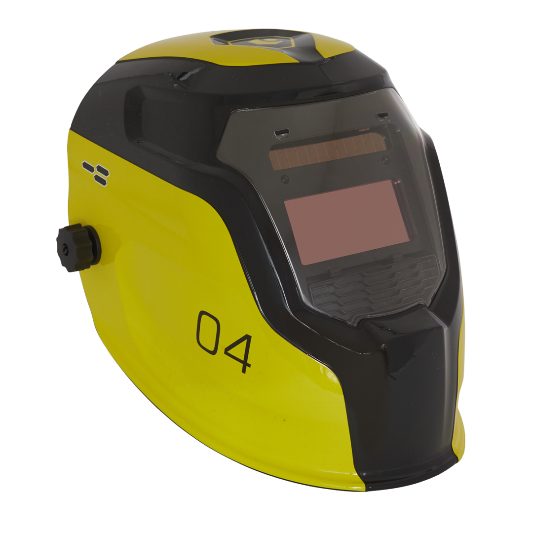 Sealey Welding Helmet Auto Darkening Shade 9-13 - YELLOW PWH4   True colour technology for improved depth perception, allowing far greater welding precision.   toolforce.ie