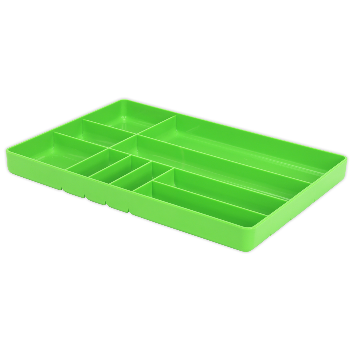 SEALEY Tool & Parts Organiser Hi-Vis Green SPT01HV   Ideal for storing personal items such as keys, mobile phones, additional tools or small components   toolforce.ie