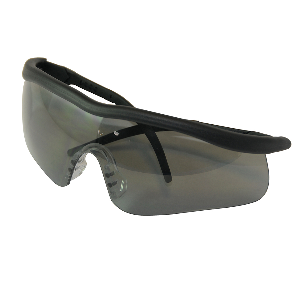 Silverline Smoke Lens Safety Glasses Shadow 140898   Lightweight modern frame with extendable and pivoted side arms and soft-feel nose bridge for a secure fit.   toolforce.ie