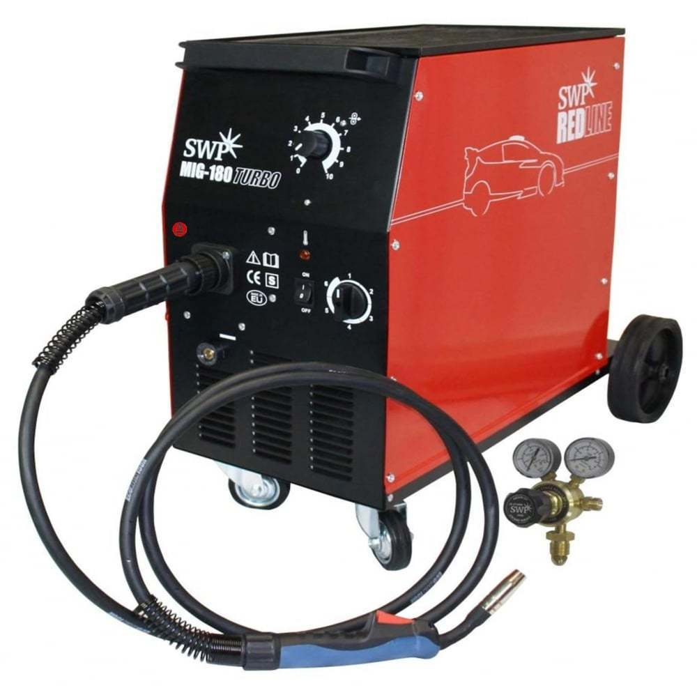 SWP Redline MIG Welder 180 Turbo - Package 9327   Comes complete with an MB15 Euro Torch + Reg and takes up to 15 kg reels   toolforce.ie