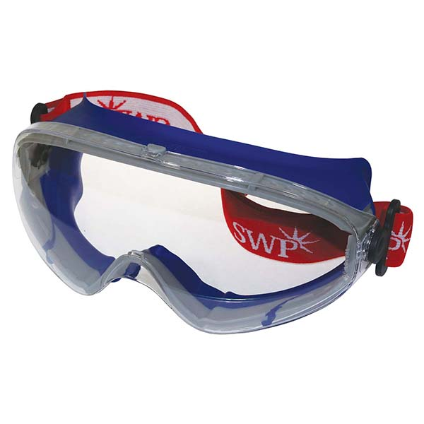 SWP Clear Ski-Style Wide-Vision Safety Goggles Anti-Mist Anti-Scratch 1508   Withstands high temperatures   Anti-scratch/Anti-mist   Toolforce.ie