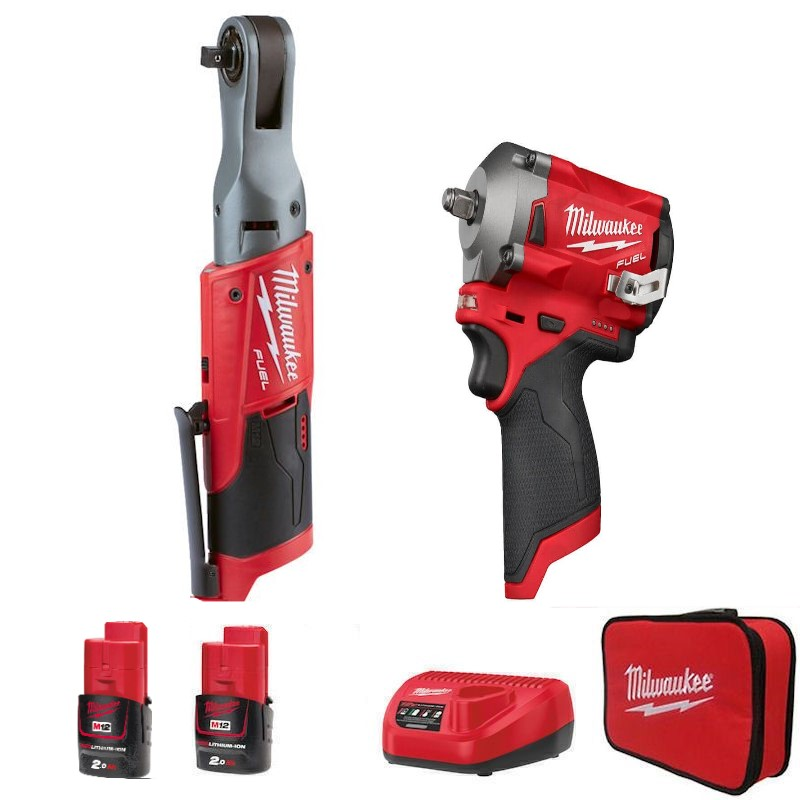 Milwaukee M12 Fuel Impact Wrench and Ratchet Twin Pack M12FPP2H-202B