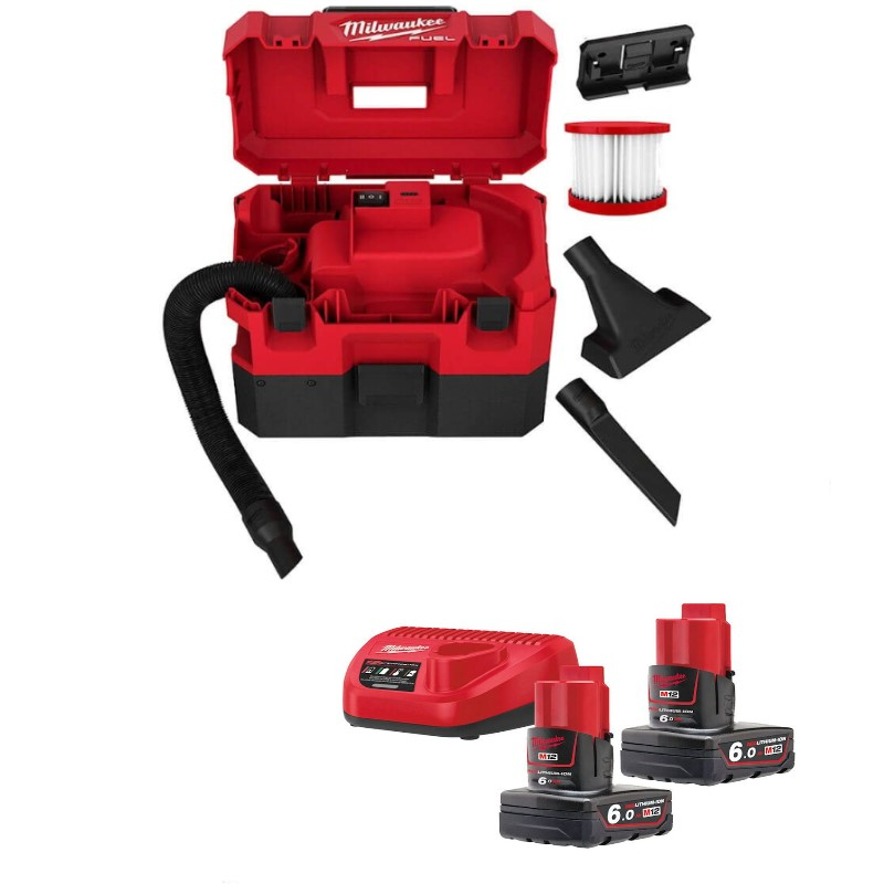 MILWAUKEE M12 FUEL WET & DRY VACUUM CLEANER M12FVCL-602 with 2 batteries