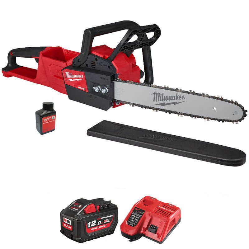 Milwaukee 18v battery power chainsaw with 12ah high output battery cordless